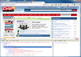 Firebug Lite for Google Chrome w akcji.