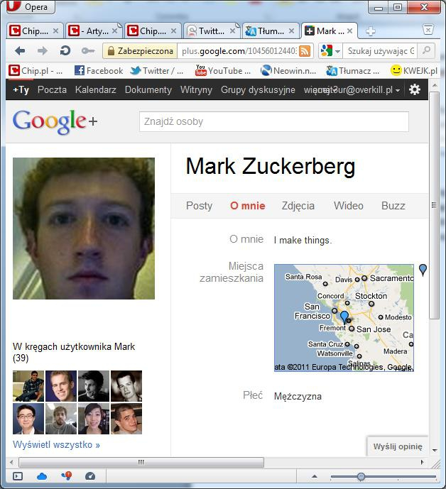 Mark Zuckerberg na Google+