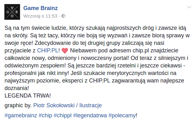 Wpis na profilu 'Game Brainz' na Facebooku