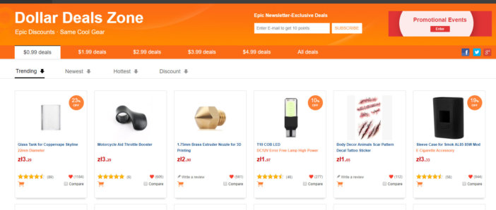 GearBest Dollar Deals Zone