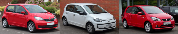 VW Up, Skoda Citigo, Seat Mii